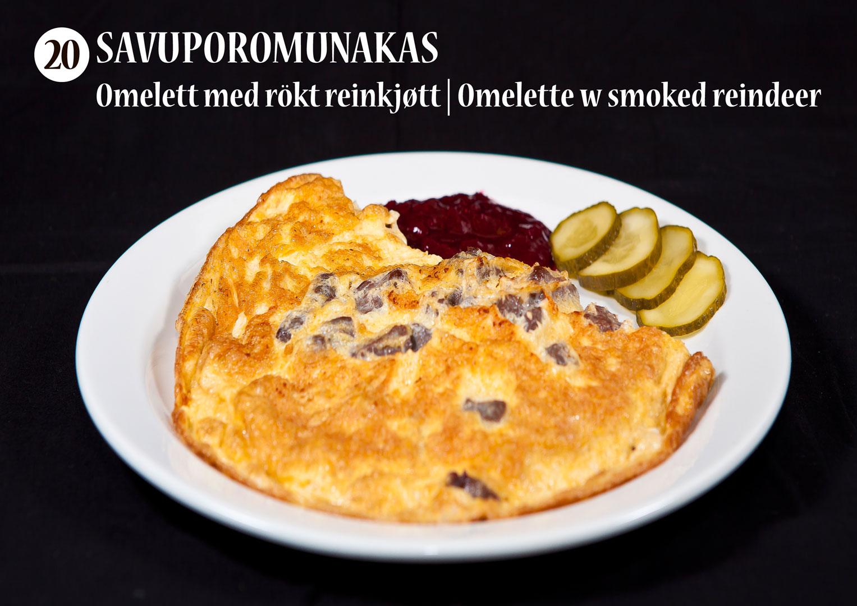 Savuporomunakas | Omelett med rökt reinkjøtt | Omelette with smoked reindeer